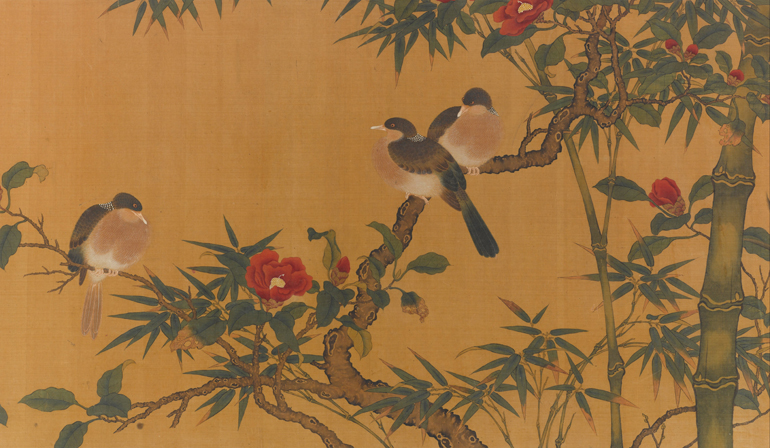 Painting of birds sitting on tree branches with green leaves and red flowers.