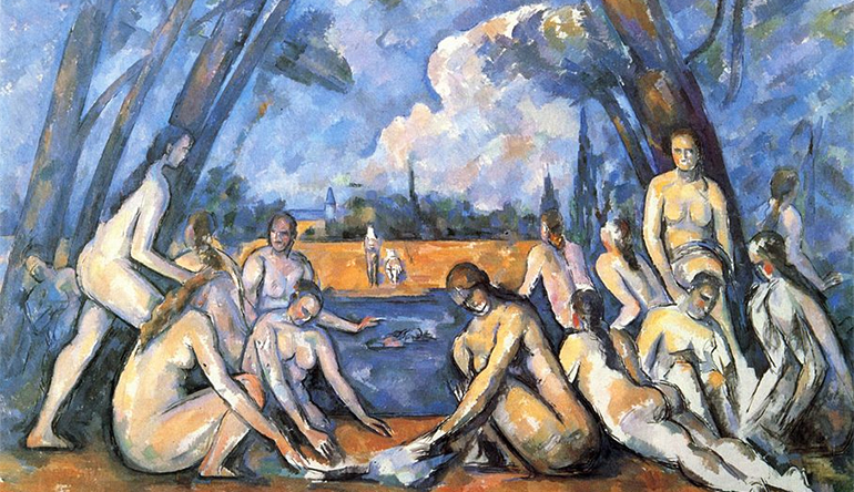 Painting of naked bodies sitting around a pond.