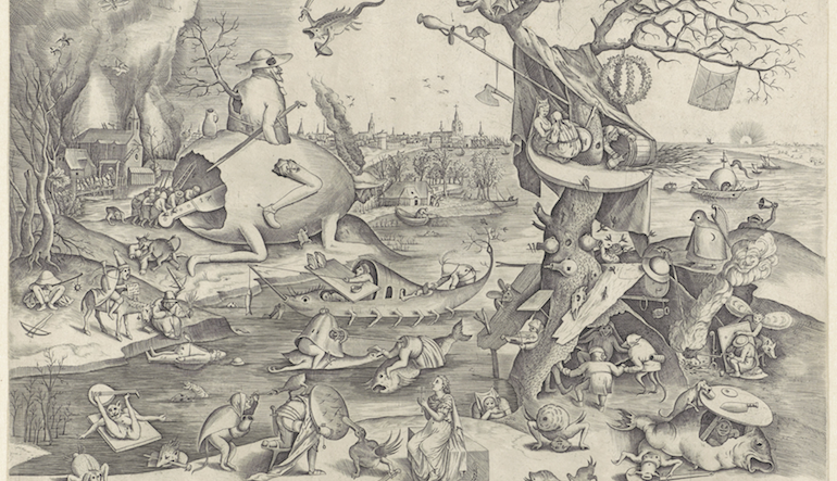 Old drawing of various creatures at a lake.