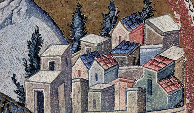 Tile mosaic of several clustered buildings.