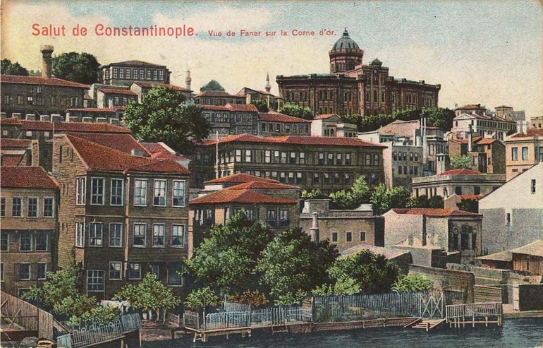 """A drawing of a city seaside with text reading """" Salut de Constantinople."""""""