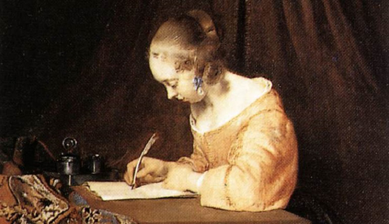 Old painting of a woman in a dress writing with a quill.