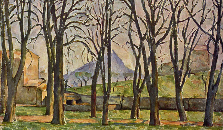 Painting of bare trees in front of a beige house and a mountain in the distance.