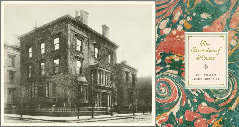 """Old building on the left, and cover for """"The Decoration of Houses"""" on the right. The cover has abstract green and red art."""