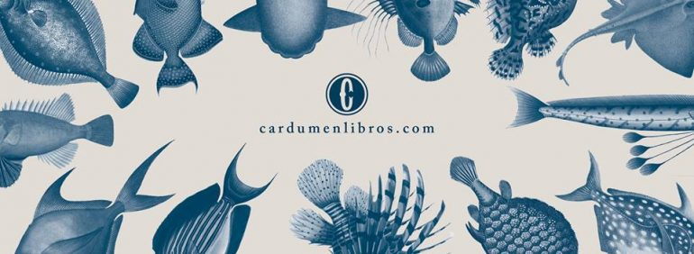 """Text reading """"cardumenlibros.com"""" surrounded by fish tails."""