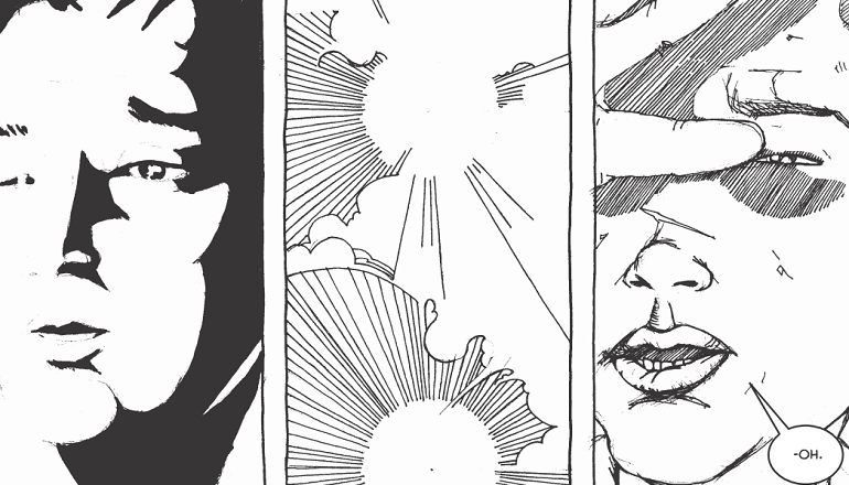 Cartoon panels showing black and white faces and an explosion in between.
