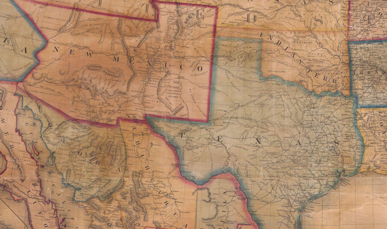 A map of the US showing Texas and New Mexico.