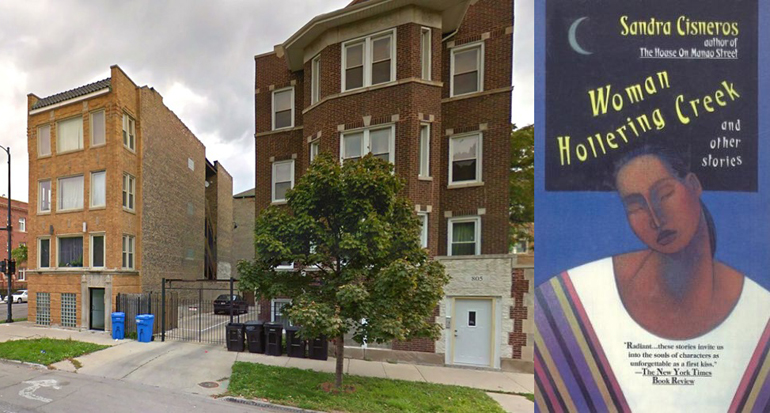 """Two brown brick buildings on the left, and book cover for """"Woman Hollering Creek"""" by Sandra Cisneros on the left."""