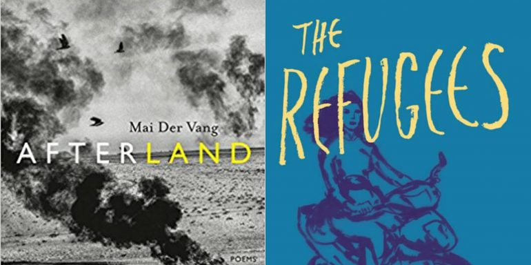 """""""Afterland"""" by Mai Der Vang on the left with smoke above a dusty field. """"The Refugees"""" on the right, with a blue background and a sketch of a woman on a motorcycle."""