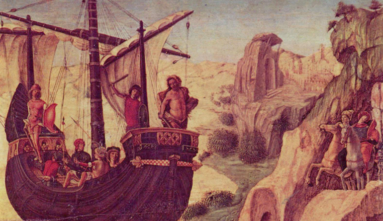 Painting of several people on a boat sailing towards a rocky cliff.