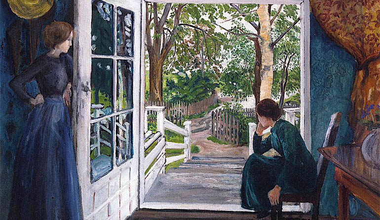 Painting of a woman sitting beside a door and another woman standing across from her.