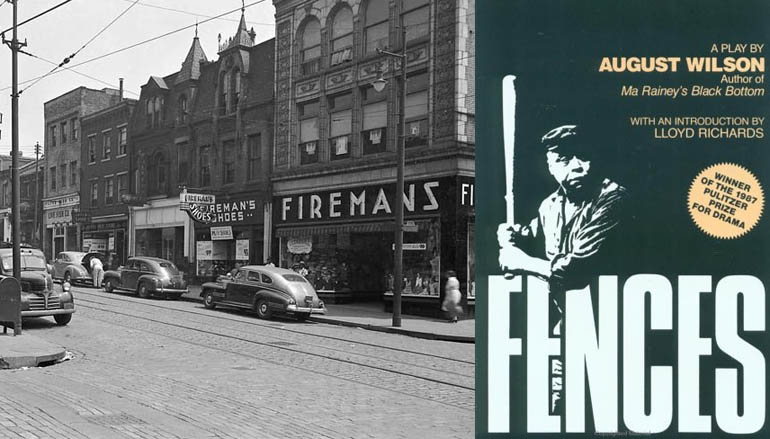 """On the left is a photo of a city street with old cars parked on the sides of the road. On the right is the cover for """"Fences"""" by August Wilson, with a man holding a baseball bat above the text."""