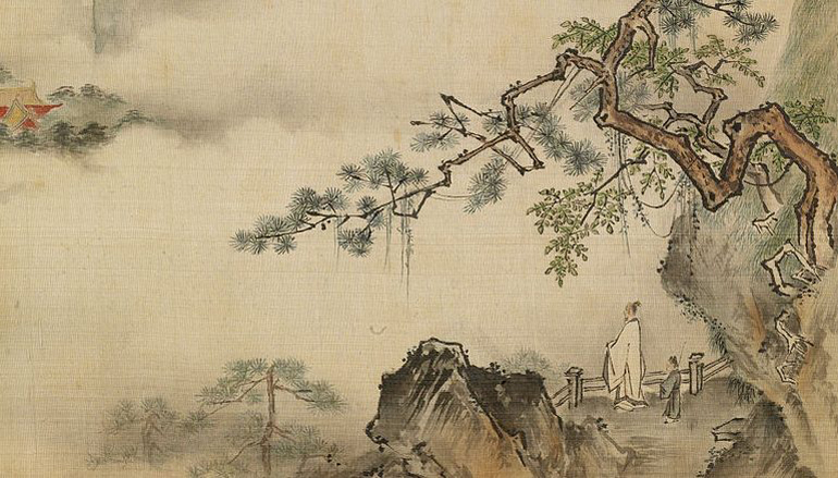 Painting of a man standing at the end of a cliff with fog in the background.