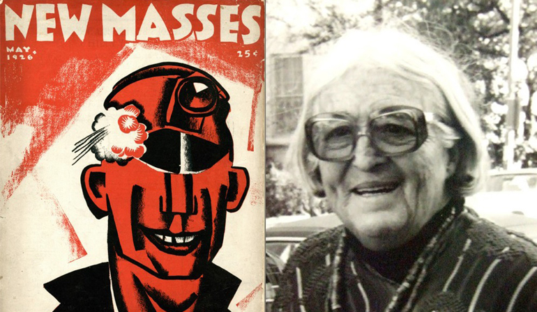 """Cover for """"New Masses"""" on the left with a painting of a head underneath the text, and a portrait of an older person wearing glasses on the left."""