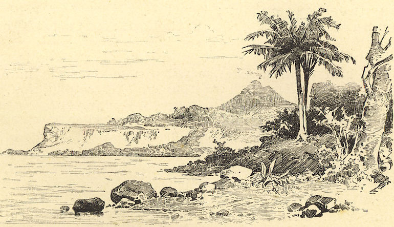 Sketch of the coast of an island.