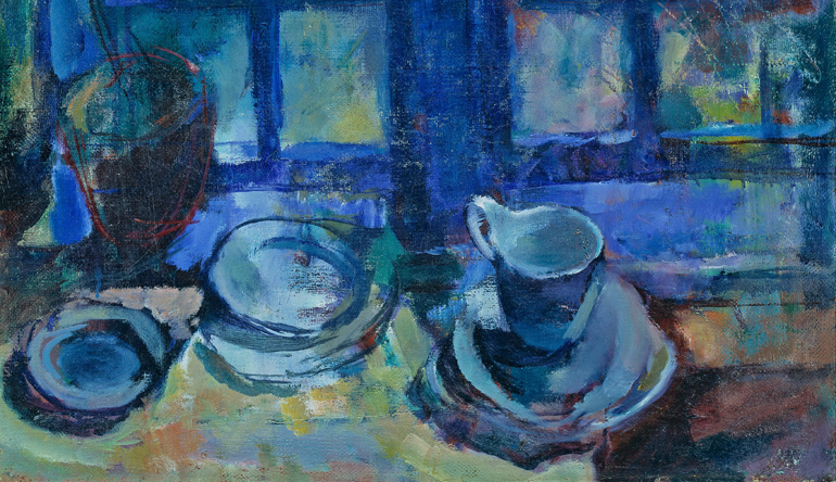 Painting of blue dishes on a counter.