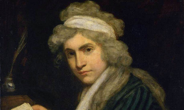 Painting of a woman with curly gray hair.