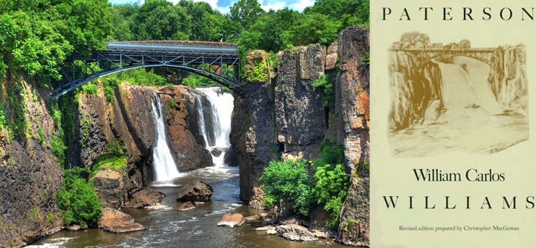 """On the left is a waterfall with a bridge in front of it. On the right is the book cover for """"Paterson"""" by William Carlos Williams which has a drawing of the same waterfall."""