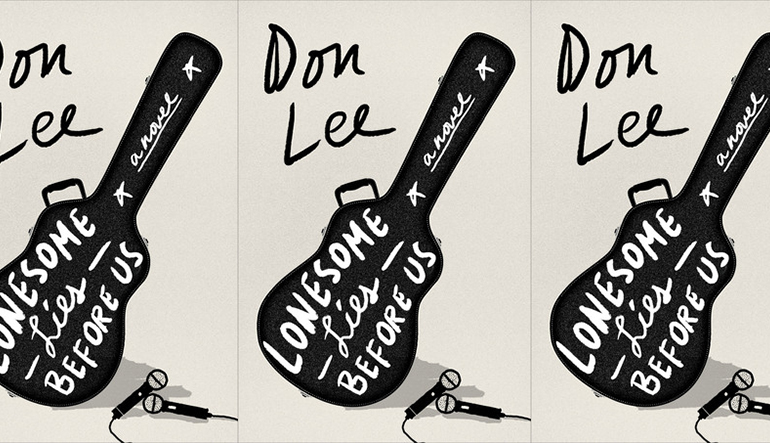 """Book cover for """"Lonesome Lies Before Us"""" by Don Lee. A black guitar case holds the title text and two microphones sit beside it."""