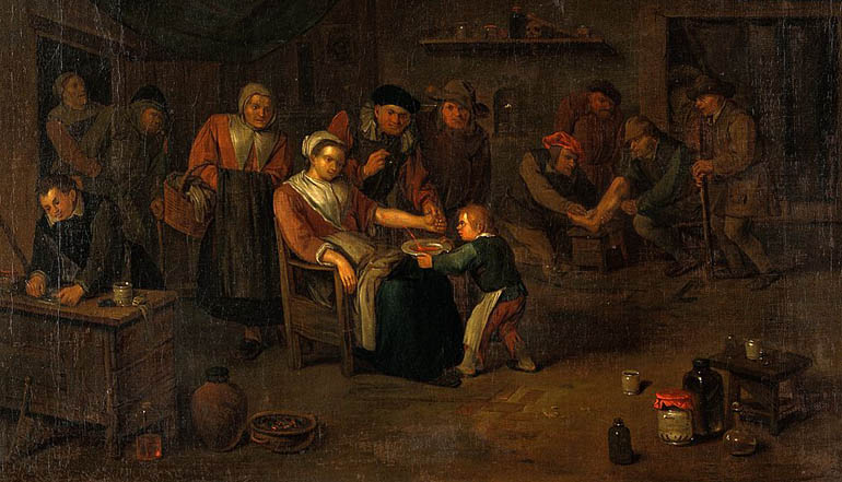Painting of several people sitting in a room. A child brings a woman sitting in a chair a bowl of soup.