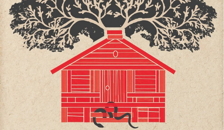 Drawing of a red house with a tree growing out of the top and a snake woven through the front steps.