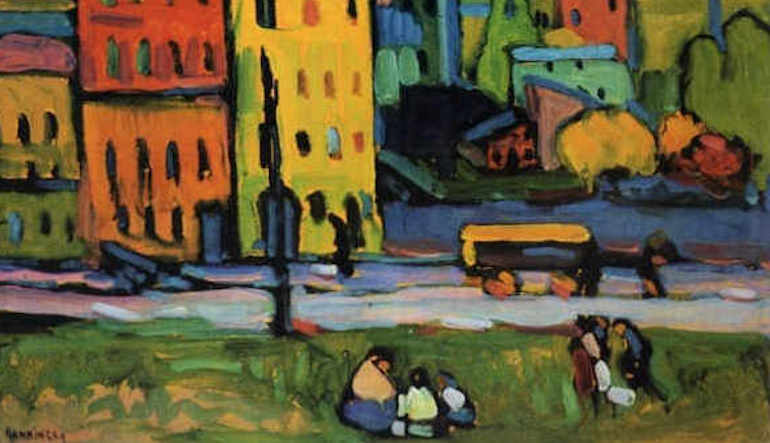 Abstract art of people sitting in a park with city buildings in the background.