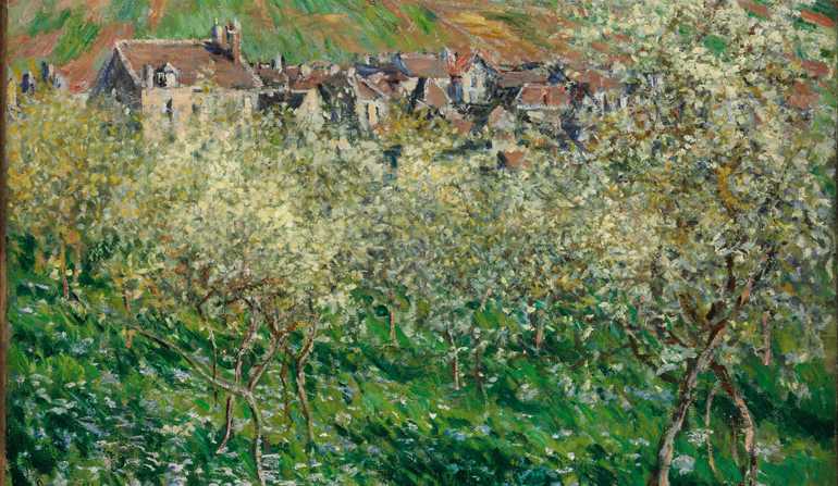 Painting of buildings covered by trees.