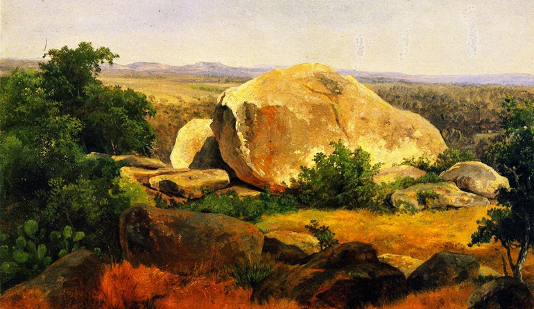 Painting of a large rock in a landscape.