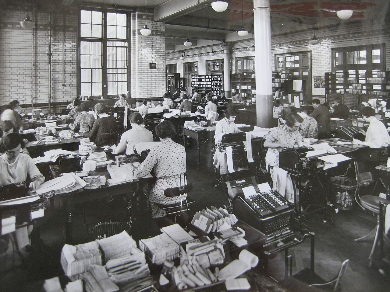 Women working at typewriters.