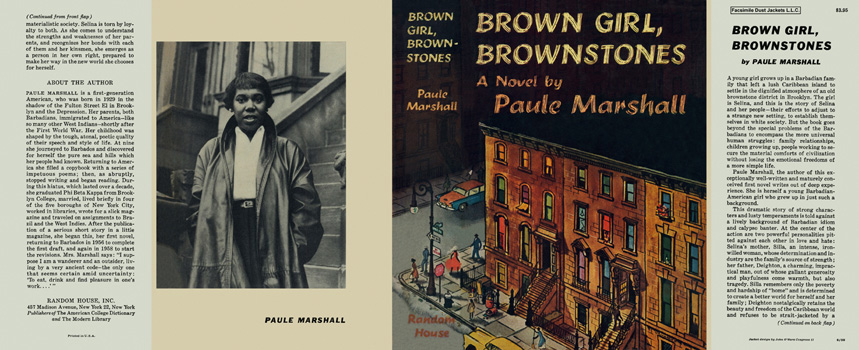 """Book jacket for """"Brown Girl, Brownstones"""" on the left is an image of a person posing for the camera in front of steps, and on the right is the book cover which is a city street corner of brownstone houses."""