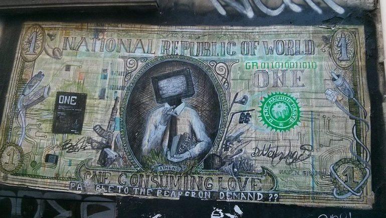 Drawn dollar bill with various sketches replacing the uniform symbols.