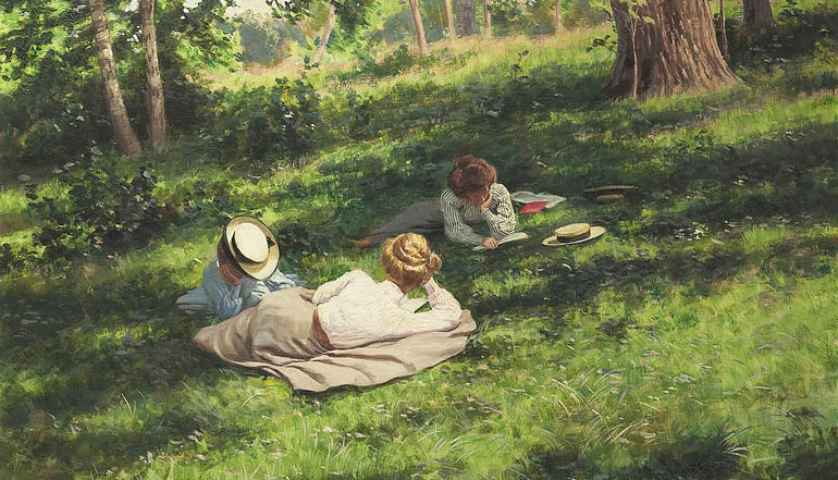 Painting of three women resting in a meadow.