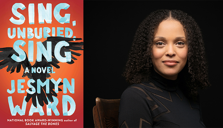 """On the left is the book cover for """"Sing, Unburied, Sing"""" by Jesmyn Ward which has a flying bird behind the text. On the right is a picture of a woman with dark curly hair posing for the camera."""