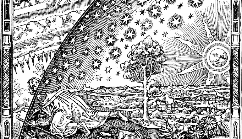 Drawing of various elements including a large sun, stars, a tree, and a village.