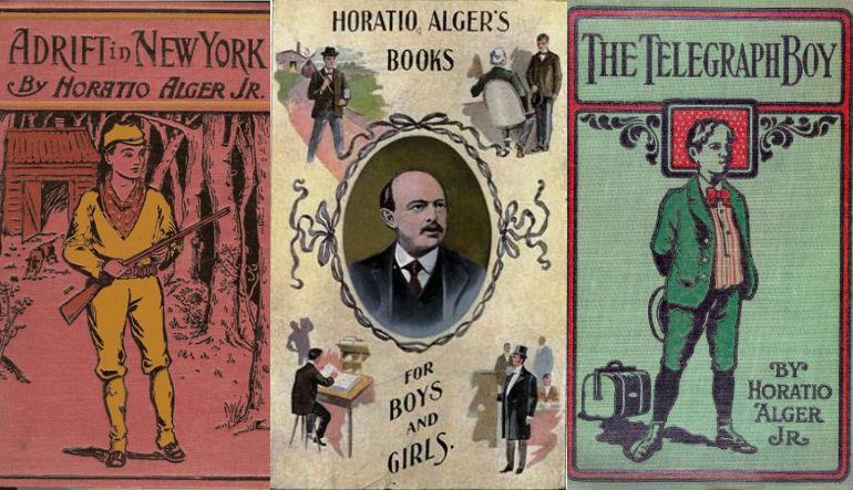 Old book covers depicting cartoon drawings of men.