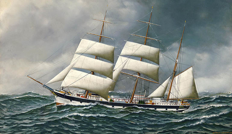 Painting of a boat on stormy seas with three large sails.