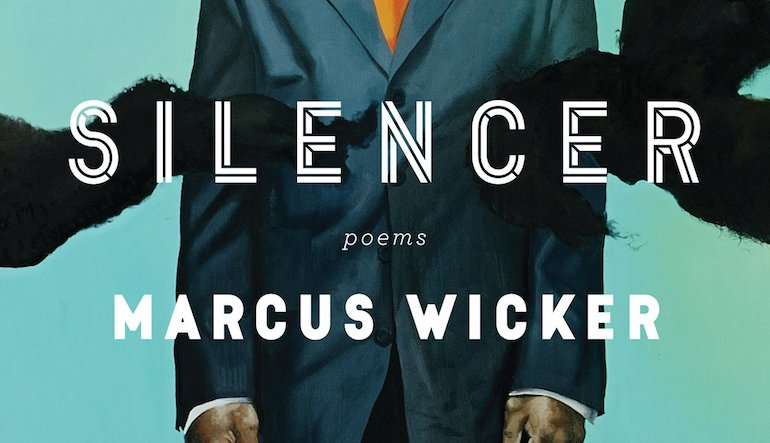 """Book cover for """"Silencer"""" by Marcus Wicker. A person in a suit is being pulled at by furry arms."""