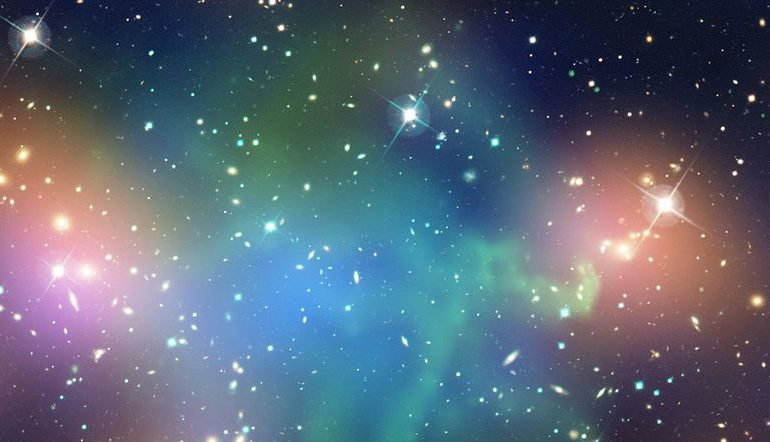 Blue, purple, red, and black galaxy wallpaper.