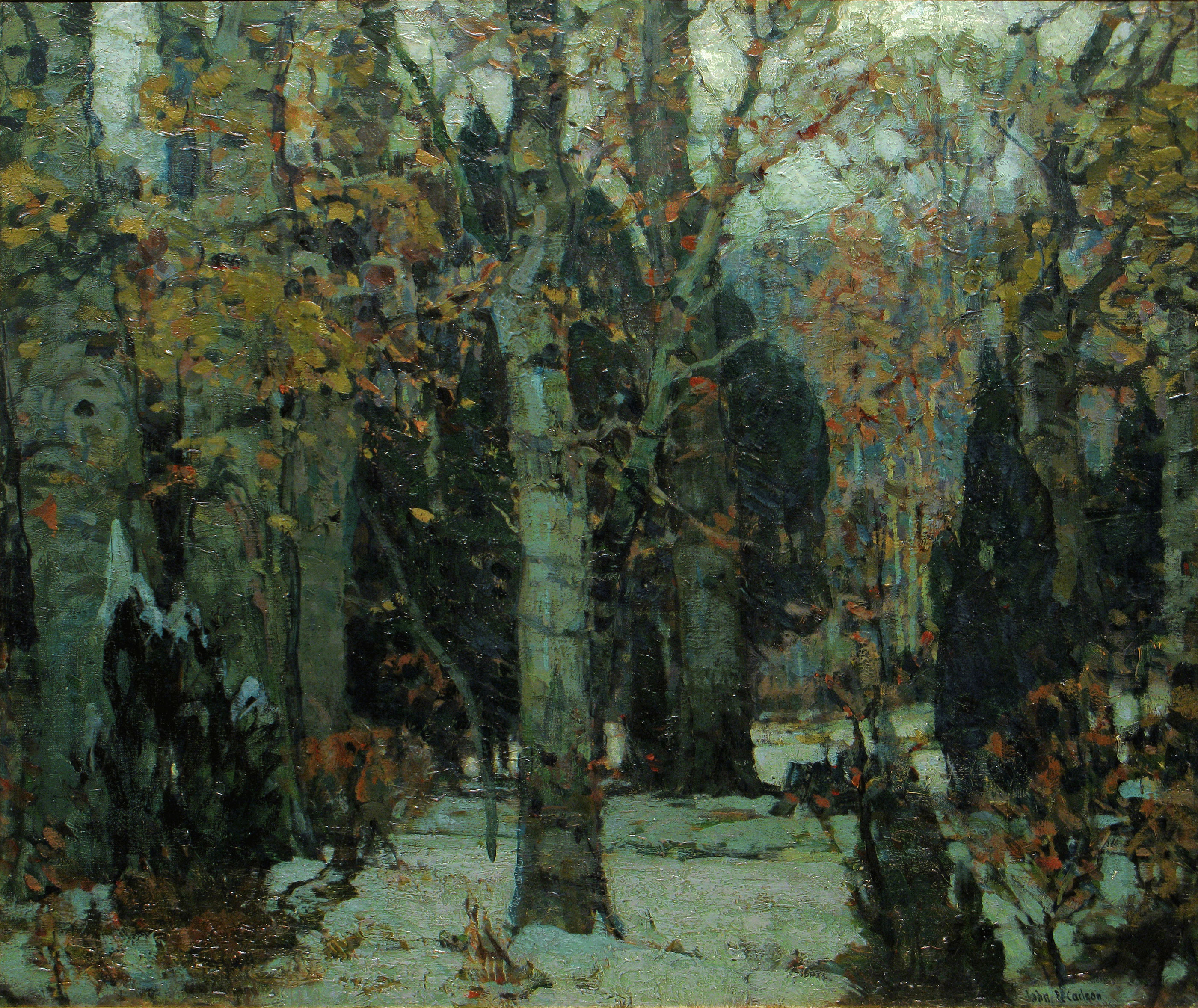 Painting of an autumnal forest losing leaves.