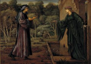 Painting of two people in conversation dressed in long robes.