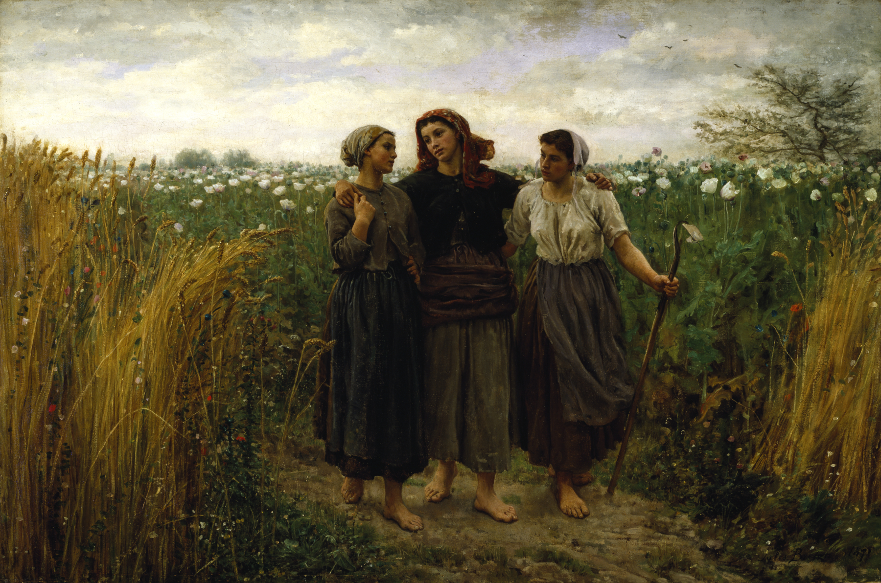 painting of three country girls in field