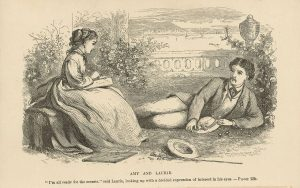 old drawing of man and woman courting