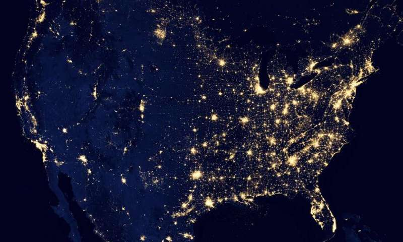 lit up aerial view of the United States at night