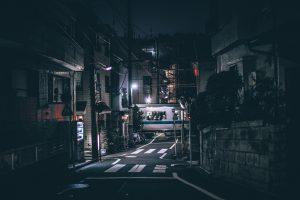 darkened street