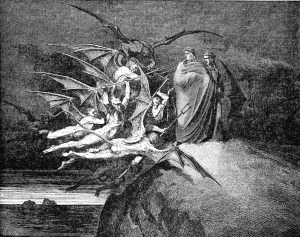 Illustration of monsters attacking people.