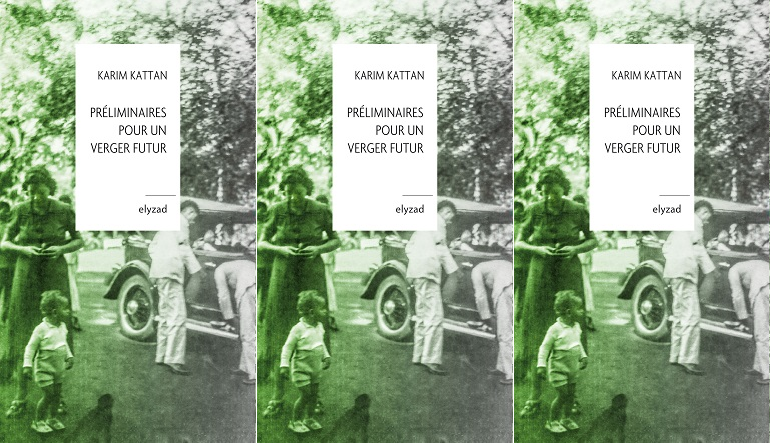 """Book cover for """"Préliminaires Pour un Verger Futur"""" with a green tinted black and white photograph of a family next to a car."""