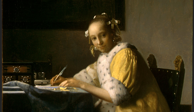 Painting of a girl writing at desk with her hair in rollers.