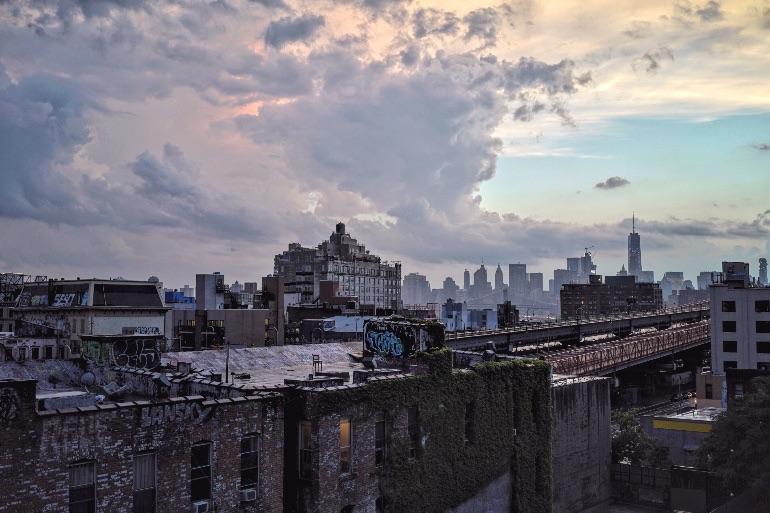City skyline on a cloudy day.