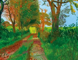 Colorful painting of a path lined by trees.