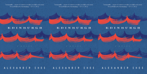 """Book cover for """"Edinburgh"""" with a blue background and red waves."""